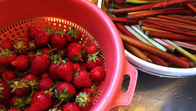 Fresh local strawberries pair well with rhubarb for a sweet and tangy dessert or simple syrup for drinks.