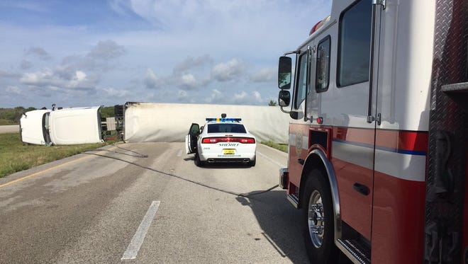 An overturned semi-trailer blocked traffic on westbound U.S. 192 west of West Melbourne on Wednesday.