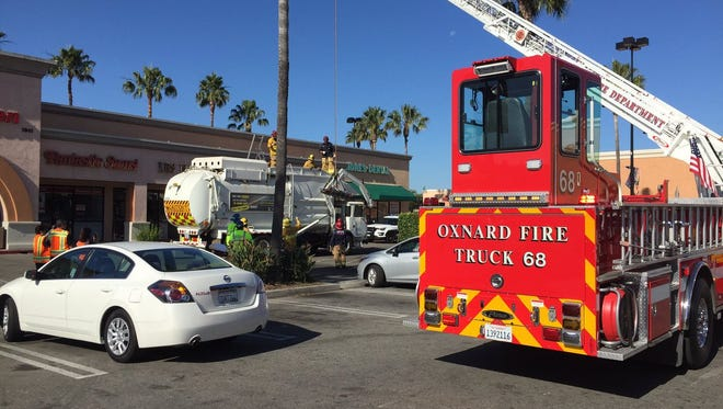 A man had to be pulled out of a garbage truck in Oxnard after falling asleep in a dumpster.