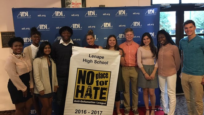 """Lenape High School student representatives are shown at the Walnut Street Theatre on June 6 where their school was among those celebrated for being designated as """"No Place for Hate"""" by the Anti-Defamation League. Lenape earned the status for the fourth straight year."""