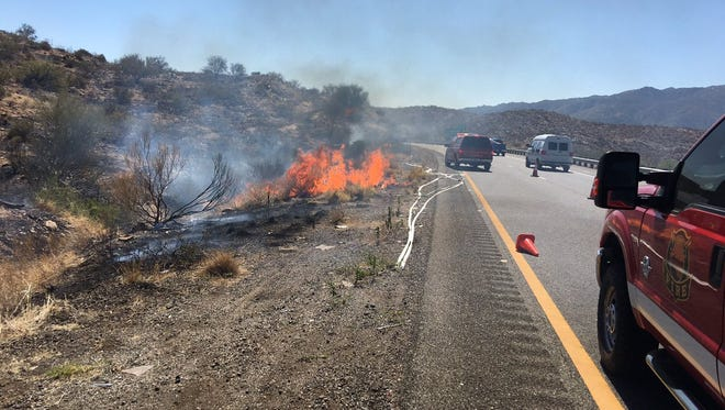 The Poison Creek Fire was burning near Sunset Point off Interstate 17 on Sept. 16, 2017.