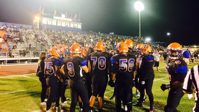 Westwood prepares for its game against rival Mesa on Thursday, Sept. 28, 2017.