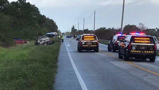 A fatal crash closed State Road 710 near Indiantown on Thursday, Oct. 12, 2017.