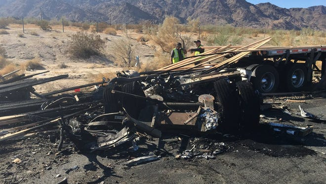 Three people died in a multi-vehicle collision that blocked eastbound Interstate 10 traffic in Desert Center. The collision happened just before 6 a.m. at Eagle Mountain Road.