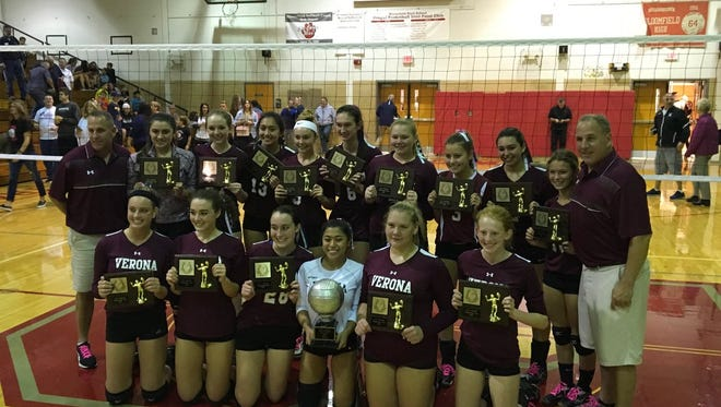 The Verona volleyball team won its second straight county tournament title.