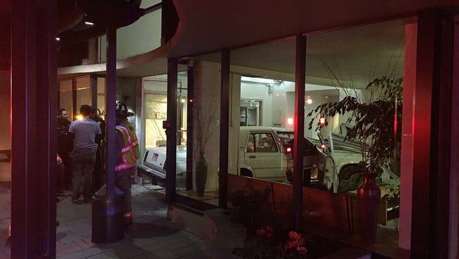 A car crashed into a downtown building Thursday, Nov. 2, 2017.