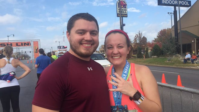 Allison Locke found a surprise at the end of the Cohick Half Marathon — her boyfriend, Joel Clendenin, holding a ring.
