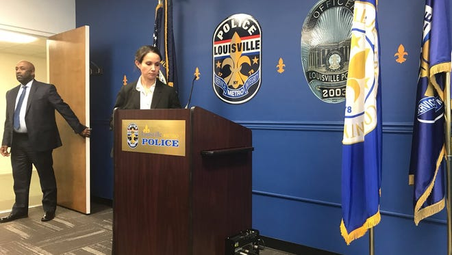 LMPD Lt. Emily McKinley prepares to speak at a Wednesday press conference. Dec. 13, 2017