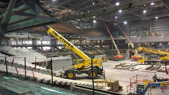 The $87 million renovation of Fifth Third Arena continues. The University of Cincinnati basketball team will return to the arena in the 2018-19 season.