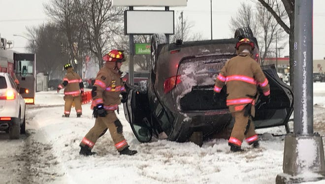 A vehicle rolled at 26th and Sycamore. There were no reports of injuries.