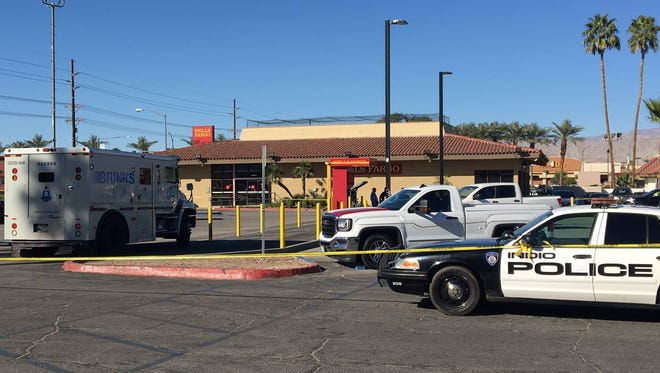 Indio police on scene at some kind of call to the Wells Fargo bank branch off Highway 111 and Monroe Street Wednesday afternoon.