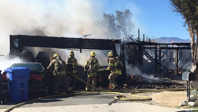 A Desert Hot Springs fire destroyed a home on Pomelo Drive.