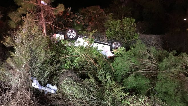Five patients, including a child, were injured in a Titusville rollover crash early Monday.