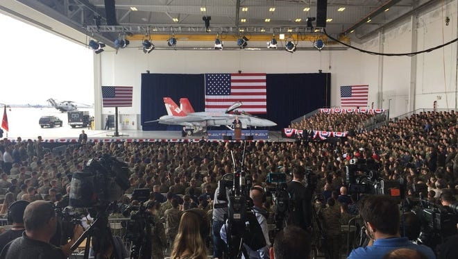 "President Trump pitches putting military in space as a ""Space Force"" while addressing military in Miramar on Tuesday, March 13, 2018."