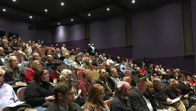 Community members, staff, faculty and students attend a listening session about proposed cuts and expansions to majors at the University of Wisconsin-Stevens Point
