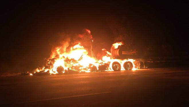 A heavily involved tractor-trailer fire was reported on Interstate 95 Thursday before midnight. March 22, 2018.