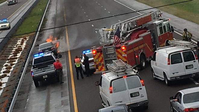 Car fire slows down traffic on Interstate 95 near Titusville.