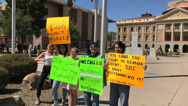 Students demanding gun-control laws start to arrive at Arizona Capitol on April 20, 2018.