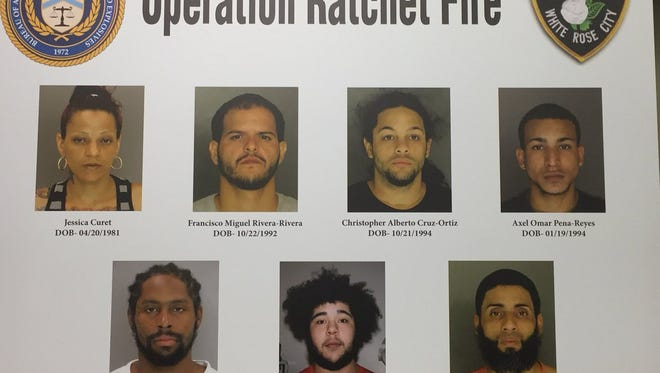 """Seven men and women were indicted in the 6-month York County drug and gun interdiction effort known as """"Operation Ratchet Fire."""""""