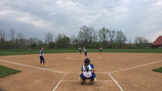 The Northern Lebanon softball team warms up for Friday's meeting with defending 5A state champ Donegal.