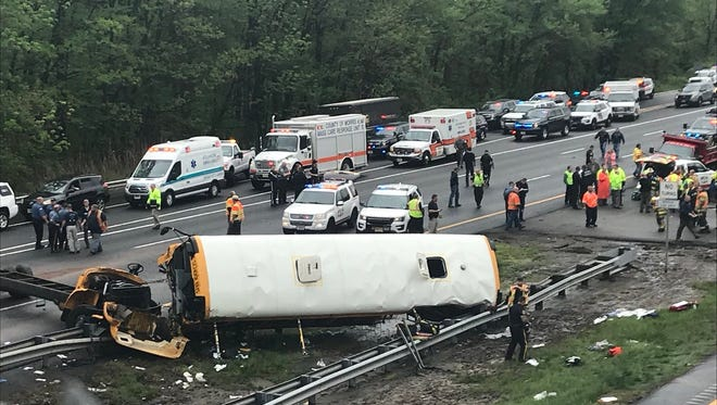 School bus crash on Route 80 in Mount Olive on May 17, 2018.