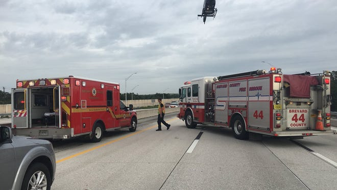 A pedestrian was transported to a local hospital after being struck by a vehicle on Interstate 95.
