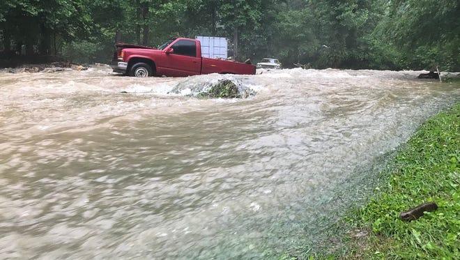 Flooding at Flat Creek in Black Mountain.