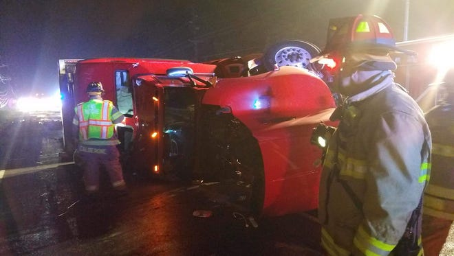 Overturned tractor trailer on Route 1 in South Brunswick on Wednesday night.