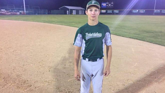 Brandon Breidegan tossed a three-hit shutout to lift Fredericksburg to a 5-0 win over Annville in Lebanon County Legion baseball playoff action on Tuesday night.