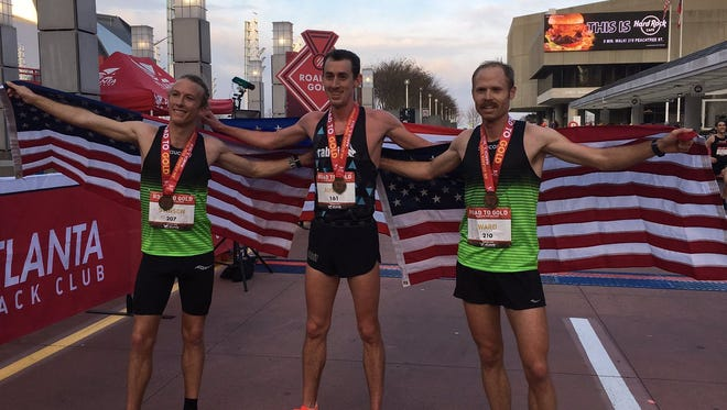 Road to Gold winner Brogan Austin, center, with third-place Parker Stinson and runner-up Jared Ward.