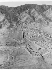 An aerial view of Fort Huachuca in spring 1954. The