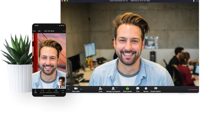 Zoom's videoconferencing platform on a smartphone and computer screen.