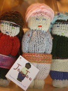 Seven years ago, we made dolls like this for Haitian orphans after the earthquake there. Now, Haitian women are making them to earn money.
