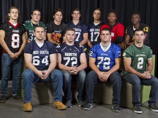 The 2015 All-Shore Offensive Football Team of (front row) Joe Rutkowski, Luke Butera, Eric Graham and Tim Santiago; (back row) Mike Gawlik, Derek Ernst, Brendan Kube, Cole Rogers, Matt Mosquera, Tyler Thompson and Anthony Brown.
