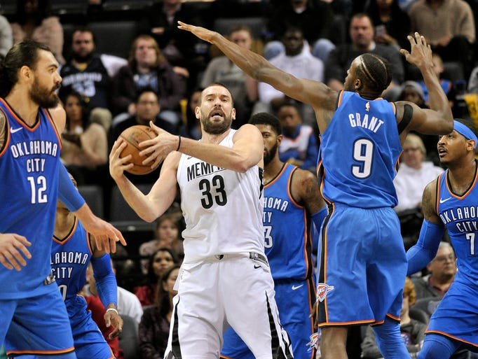 Memphis Grizzlies center Marc Gasol (33) controls the