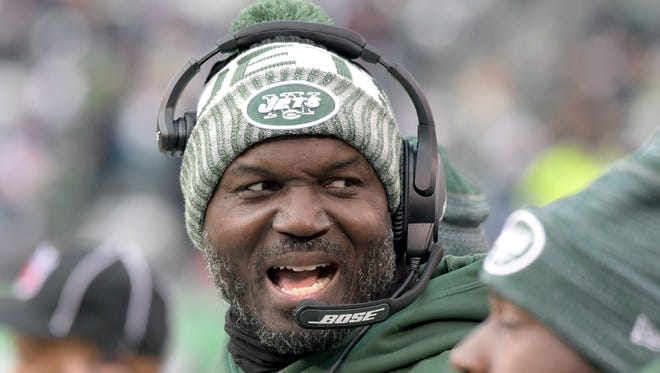 File- This Dec. 24, 2017, file photo shows New York Jets head coach Todd Bowles reacting during the second half of an NFL football game in East Rutherford. On Friday, Dec. 29, 2017, Bowles and GM Mike Maccagnan each were given two-year extensions on their contracts, taking them through the 2020 season.
