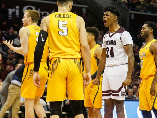 Alize Johnson, of Missouri State, screams after hitting his shot in the Bears game against the Valparaiso Crusaders at JQH Arena on Wednesday, Jan. 17, 2018.