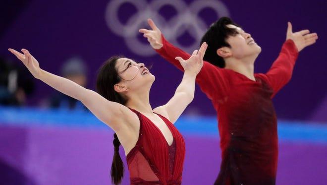 Alex Shibutani, right, and Maia Shibutani at the 2018 Winter Olympics in Gangneung, South Korea.
