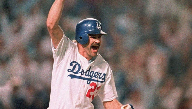 Kirk Gibson celebrates his walk-off homer in Game 1 of the 1988 World Series.