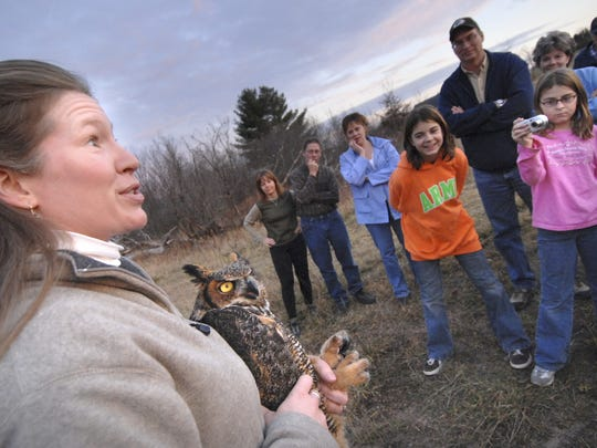 In this 2006 file photo, Jeanette W. Kelly, the director of education at the Raptor Education Group, Inc., talks about the great horned owl she's holding shortly before it's release in Mosinee.