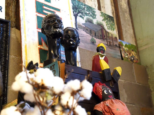 African American busts and primitively made mammy dolls also have a place in Anderson's collection.