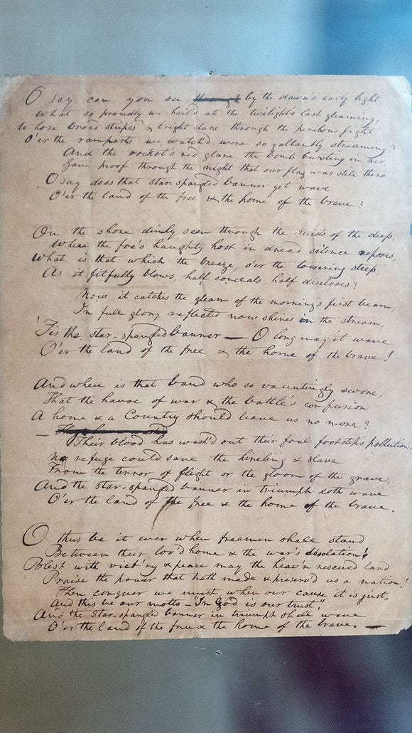 The first known manuscript of Francis Scott Key's poem which became the U.S. national anthem, known as The Star-Spangled Banner, is displayed at Fort McHenry in Baltimore on Sept. 12, 2014.
