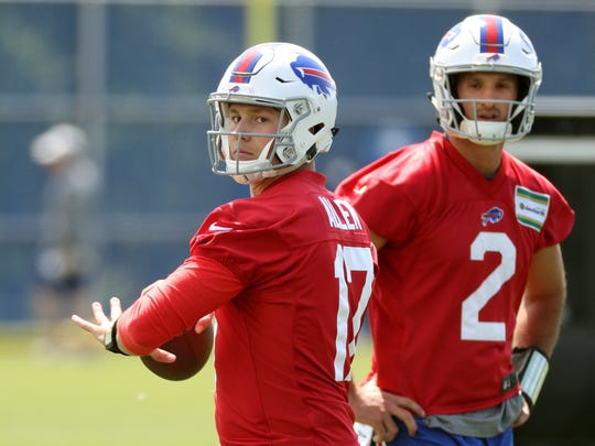Bills rookie quarterback Josh Allen hopes to work his way in front of Nathan Peterman (2) and A.J. McCarron on the depth chart. Jamie Germano/Rochester Democrat and Chronicle