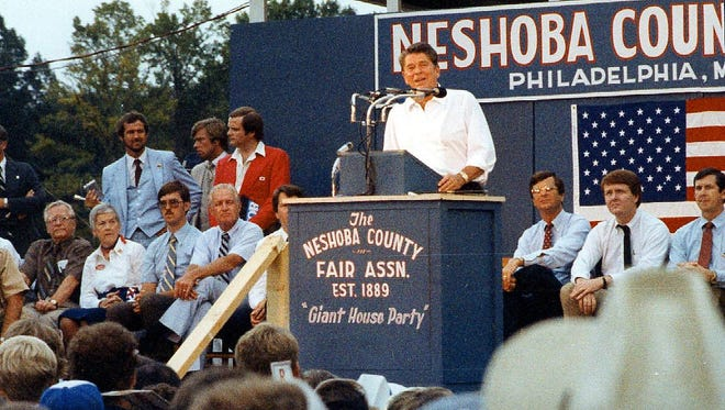 Then Republican presidential candidate Ronald Reagan spoke at the Neshoba County Fair on Sunday, Aug. 3, 1980.