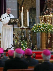 Pope Francis meets with bishops Feb. 13, 2016, at the