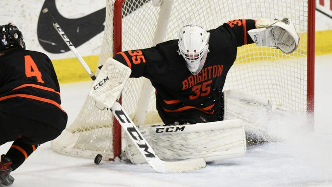 Harrison Fleming has posted shutouts in both of Brighton's hockey victories this season.