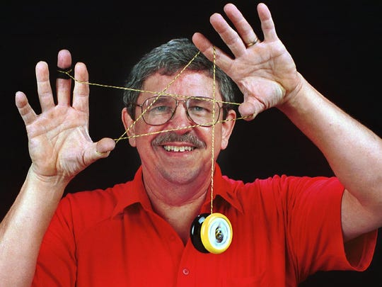This photo accompanied a 1998 article on Chuck Pribulick that highlighted his yo-yo skills and revved up his yo-yo demonstration career.