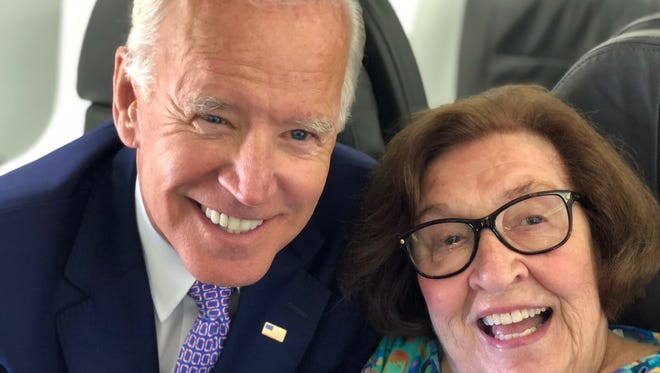Betty Brennan on an American Airlines flight with former Vice President Joe Biden Friday. Biden was in town for Ohio governor campaign event.