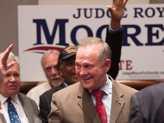Roy Moore greets supporters during the Roy Moore Election