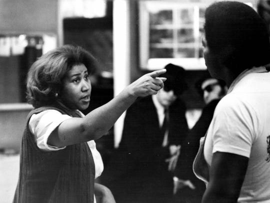 "Aretha Franklin warns her husband Matt Murphy to ""think,"" about the consequences of his actions in a scene from the movie ""The Blues Brothers"""